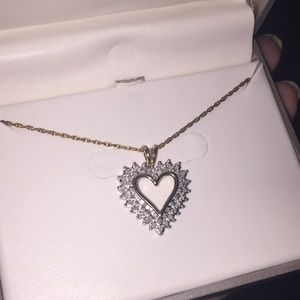 Heart diamond and gold necklace new with tag